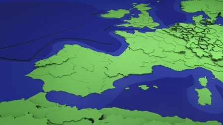 western europe:   Map showing western Europe countries and North Africa