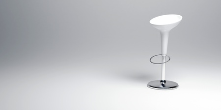stools:   3D rendering of a white and chrome modern stool    Stock Photo