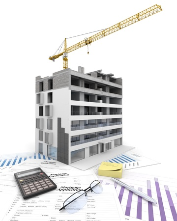 An apartment block in construction, on top of graphics and a mortgage application form Stock Photo - 18128567