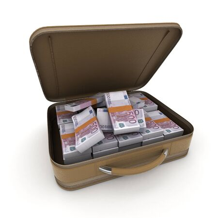smuggling: A briefcase full of cash in five hundred euro  bills Stock Photo