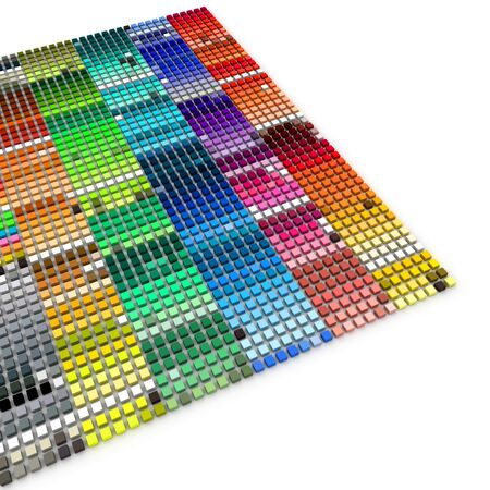 color swatch: 3D rendering of multiple blocks in a variety of color shades Stock Photo