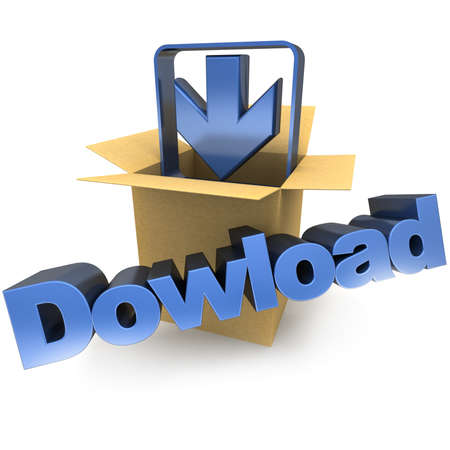 remote server: A cardboard box, an arrow pointing down and the word download