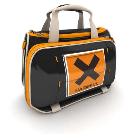 harmful: Handbag with a harmful warning sign
