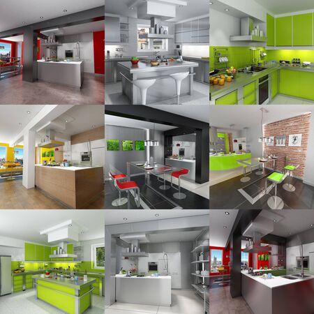 renderings: Collection of kitchen renderings in different styles Stock Photo