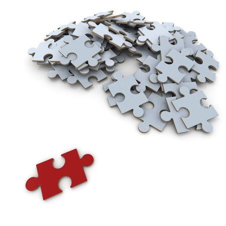 exceptional: Red puzzle piece, lying apart from the rest of the gray pieces Stock Photo
