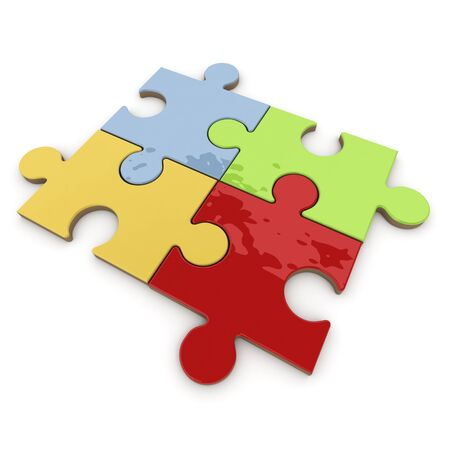 fitting in: Four colorful pieces fitting in a puzzle Stock Photo