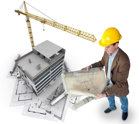 construction plans: An architect supervising a construction project