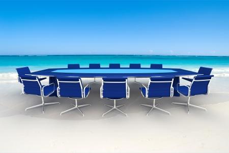 Rendu 3D d'une table de réunion et chaises dans l'eau d'une plage des Caraïbes