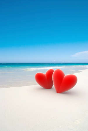heart in sand: 3D rendering of two red hearts on a tropical beach