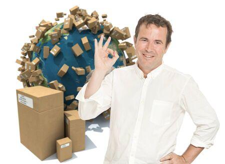 satisfied customer: Satisfied customer in an worldwide transportation background Stock Photo