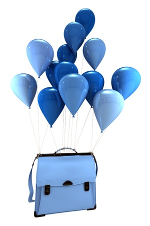 satchel:  3D rendering of a group of blue balloons carrying  a schoolbag  Stock Photo