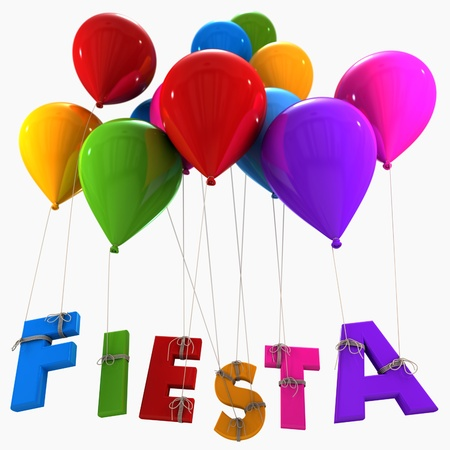 word balloon:   3D rendering of a group of multicolored flying balloons with the word fiesta hanging from the strings  Stock Photo