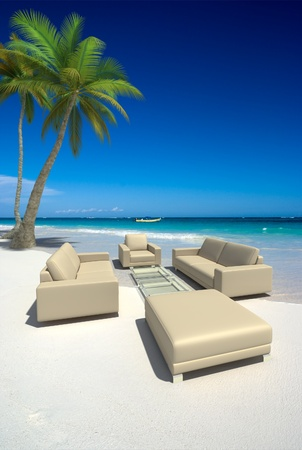 Living room furniture with sofas and table in the middle of a tropical beach Stock Photo - 18158733