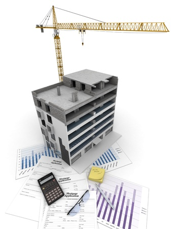 An apartment block in construction, on top of graphics and a mortgage application form Stock Photo - 18255776