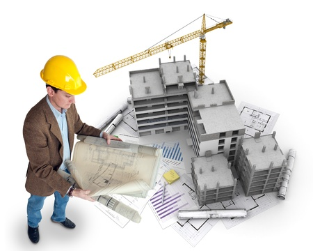 An architect supervising a construction project photo