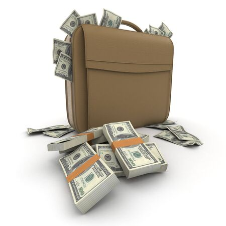 cashflow: A briefcase full of cash in hundred dollar bills