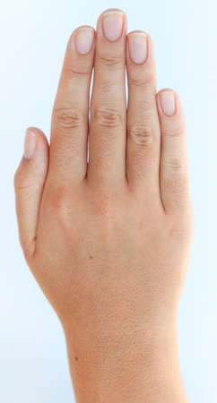 stop gesture: Beautiful open hand of a young Caucasian female