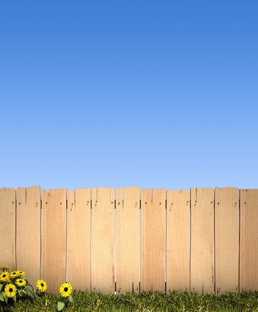 3D rendering of a wooden fence and a blue sky, ideal for inserting a message or image photo