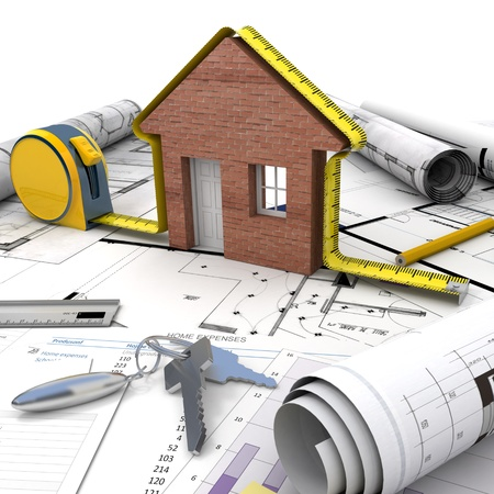 A house under construction on top of a table with mortgage application form, calculator, blueprints, etc.. Stock Photo - 18233540
