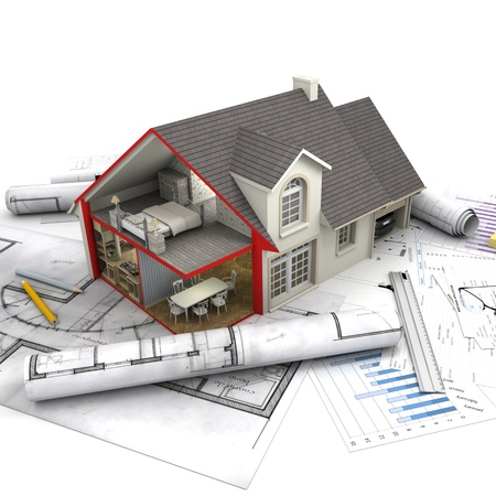 mortgage application: House with open interior on top of blueprints, documents and mortgage calculations