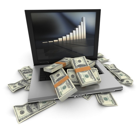 earn money online: A portable computer with a growth chart, with the keyboard cover in hundred dollar bills