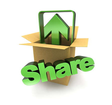 obtain: A cardboard box, an arrow pointing up and the word share Stock Photo