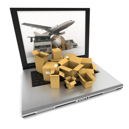 Open laptop with the image of the Earth, a truck, a plane and a van on the screen, and cardboard boxes with a stopwatch on top of the keyboard photo