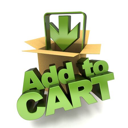 Add to cart symbol, 3D rendering Stock Photo - 18385895