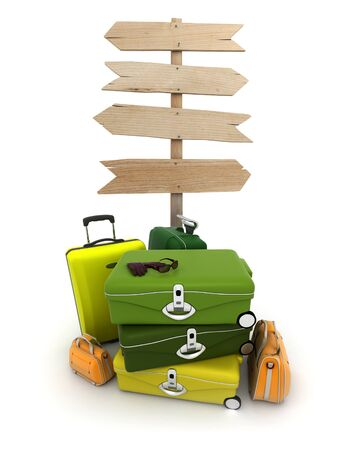 A pile of baggage and a rustic wooden sign with lots of copy space Stock Photo - 18385889