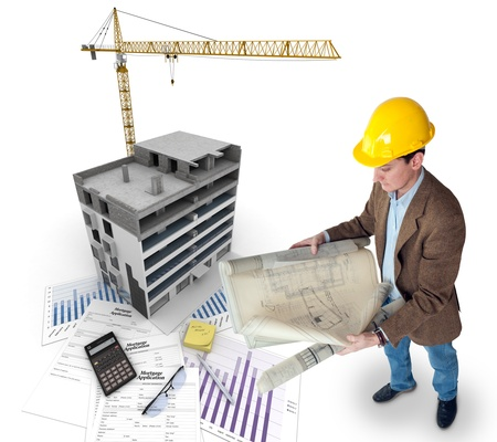 All elements of a property purchase, an architect with blueprints, a building under construction, a mortgage application Stock Photo - 18355285