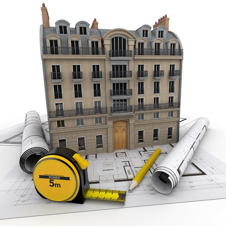Old Parisian building on top of blueprints Stock Photo - 18355282