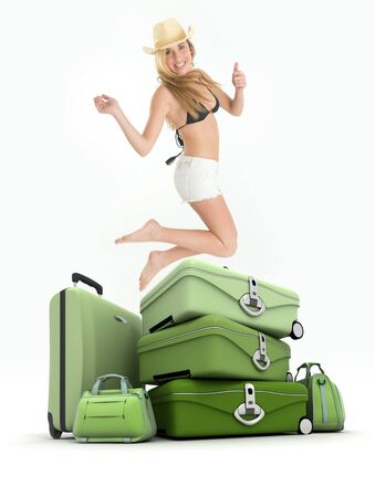 barefoot cowboy: Young woman in bikini and shorts, jumping by a pile of luggage
