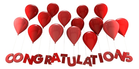 felicitaciones cumpleaÑos: Representación 3D de un grupo de globos con la palabra felicitaciones colgando de las cuerdas en tonos rojo Foto de archivo