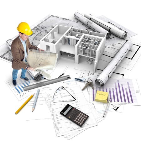 All elements of a property purchase, an architect with blueprints, a building under construction, a mortgage application.. Stock Photo - 18419589