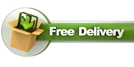3D rendering of a free delivery concept banner photo