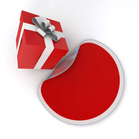3D rendering of a gift box and a matching sticker in red and white shades, ideal for inserting your own message photo