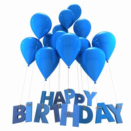 globos de cumpleaños: Representación 3D de un grupo de globos con el cumpleaños feliz palabras que cuelga de las cuerdas en tonos azul Foto de archivo