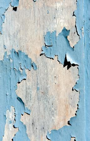 splintered: Pale blue peeling paint on whitened wood