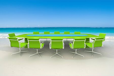 commercial event: 3D rendering  of a Meeting table and chairs in the water of a Caribbean beach