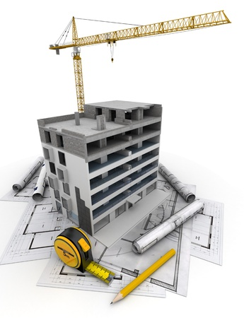 building plans: An apartment block in construction with a crane, on top of blueprints Stock Photo