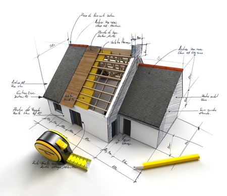 Casa en construcción en la parte superior de los planos con notas escritas a mano y medidas