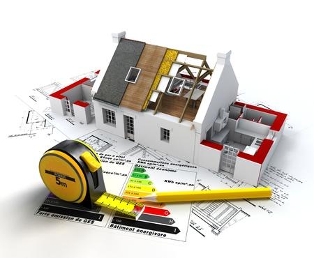 eficiencia energetica: Representaci�n 3D de una casa en construcci�n, en la parte superior de los planos, con y tabla de calificaci�n de eficiencia energ�tica