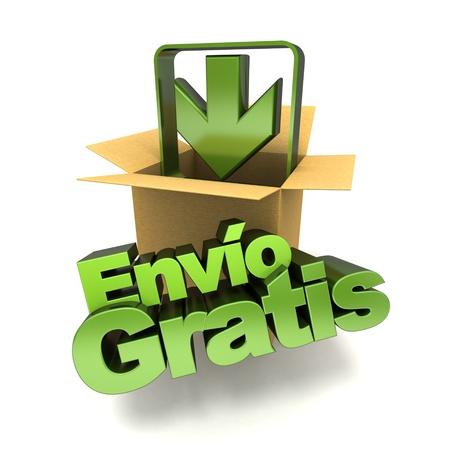 送料: スペイン語、env o 無償で無料配送概念バナーの 3 D レンダリング