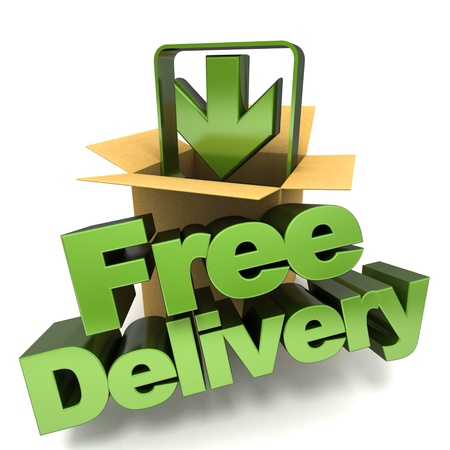 3D rendering of a free delivery concept sign photo