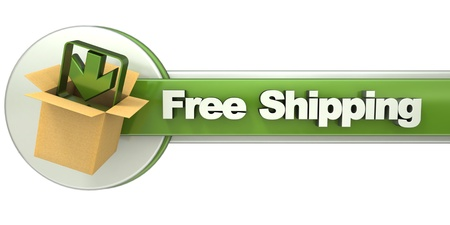 shipping package: 3D rendering of a free shipping concept banner Stock Photo