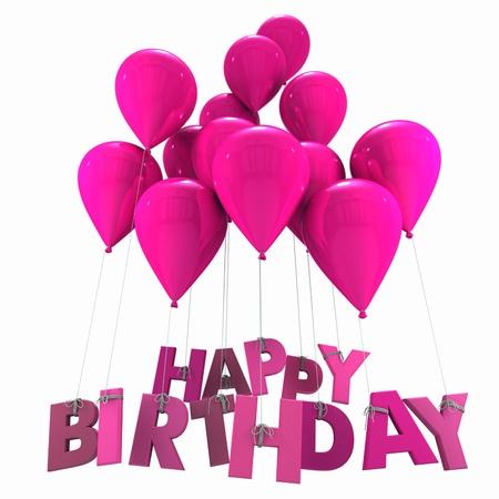 globos de cumpleaños: Representación 3D de un grupo de globos con el cumpleaños feliz palabras que cuelga de las cuerdas en tonos rosados Foto de archivo