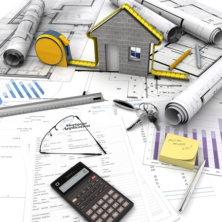 house under construction: A house under construction on top of a table with mortgage application form, calculator, blueprints, etc..  Stock Photo