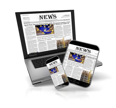 A tablet, a mobile phone and a laptop with a newspaper on the screen Stock Photo - 18464517