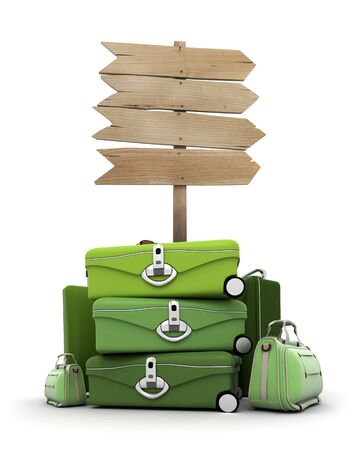 Pile of luggage by a wooden sign photo