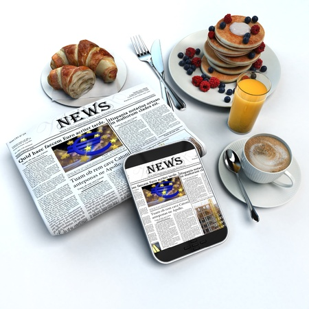 3D rendering of a breakfast, a folded newspaper and a tablet with the news photo